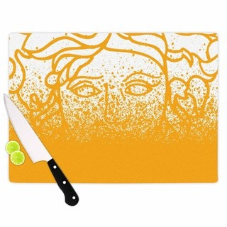 Kess InHouse Just L 'Versus Spray Gold' White Vector Tempered Glass Cutting Board