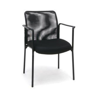 Mesh Upholstered Stacking Side Chair with Arms, Black