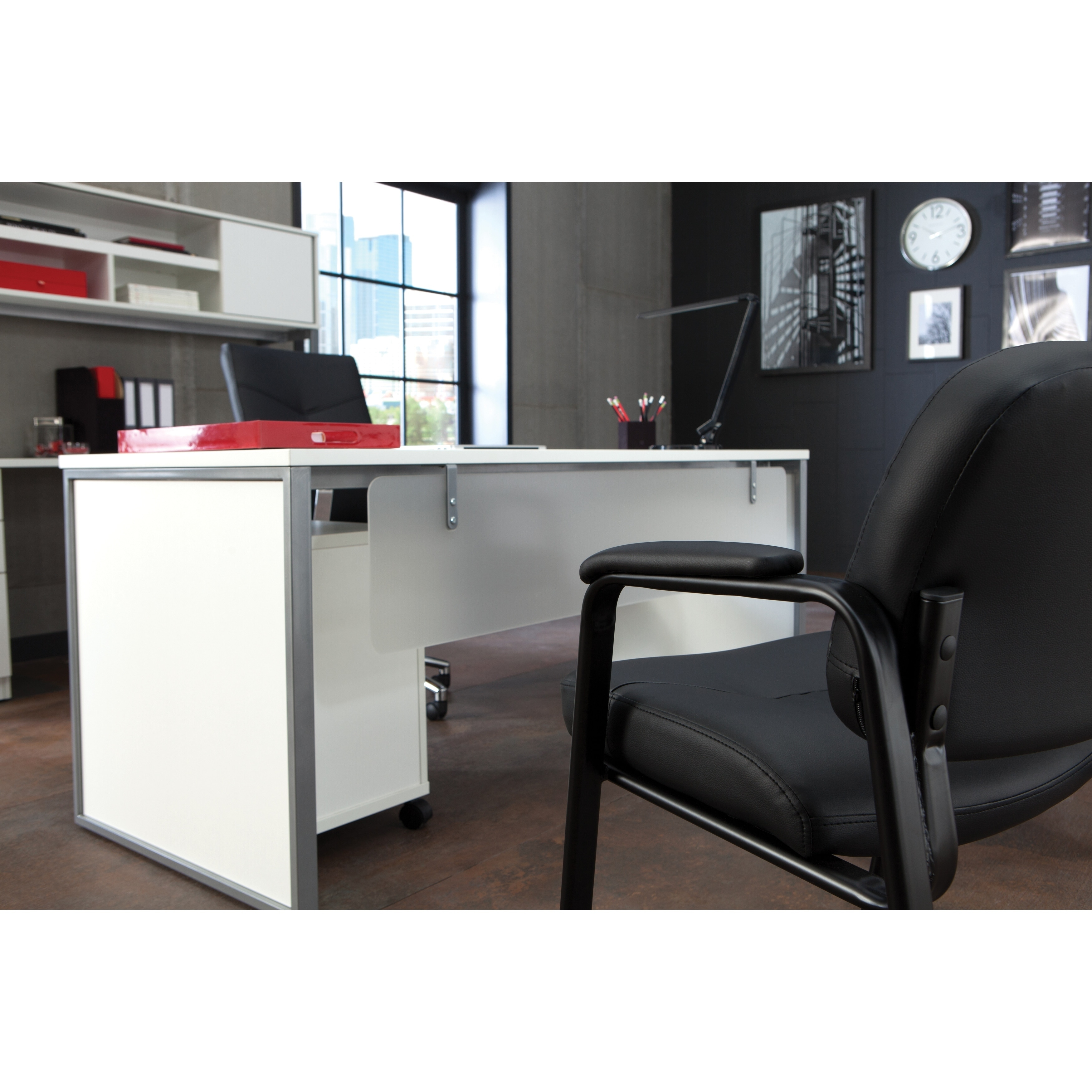 Leather Executive Side Chair with Padded Arms, Black (Side Chair with Padded Arms)