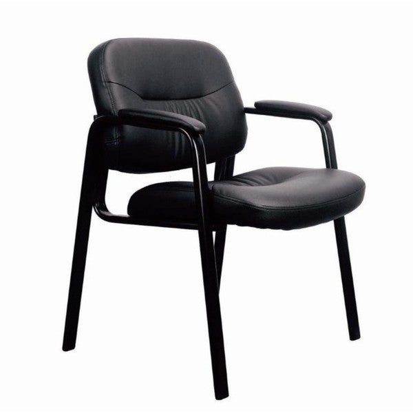 shop leather executive side chair with padded arms black free