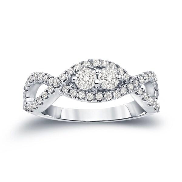 Auriya 14k Gold 1/2ct TDW  Infinity-Inspired Round 2-Stone Diamond Engagement Ring