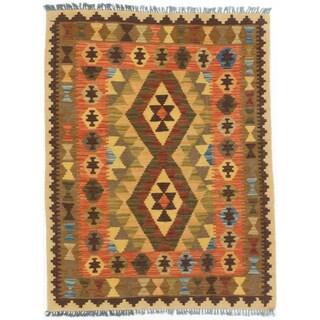 eCarpetGallery Kashkoli Brown/Red Wool Handwoven Kilim Rug (2'11 x 3'10)