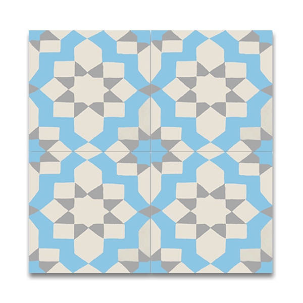 Affos Blue and Beige Handmade Moroccan 8 x 8 inch Cement and Granite Floor or Wall Tile (Case of 12)