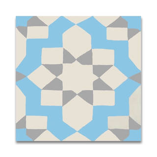 Affos Grey and Blue Handmade Cement Moroccan Tile, 8 Inch x 8 inch Floor/Wall Tile (pack of 12)