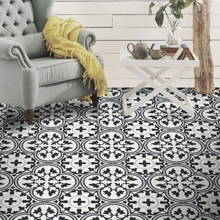 Casa Black and Grey Handmade Cement Moroccan Tile, 8 Inch x 8 inch Floor/Wall Tile (pack of 12)