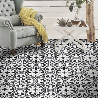 Casa Black and Grey Handmade Moroccan 8 x 8 inch Cement and Granite Floor or Wall Tile (Case of 12)