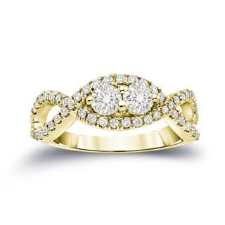 Auriya 14k Gold 3/4ct TDW 2-Stone Round Cut Diamond Braided Engagement Ring (J-K, I1-I2)