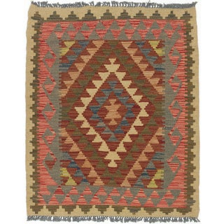 eCarpetGallery Brown/Grey Wool Handwoven Kashkoli Kilim Area Rug (2'11 x 3'6)