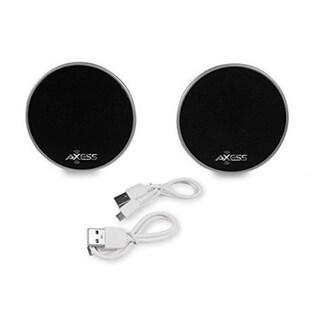 Axess SPBP4401-BK Total Wireless Twin Bluetooth Black Cone Speakers