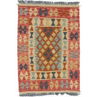 eCarpetGallery Kashkoli Kilim Red/Yellow Wool Handwoven Rug (2'6 x 3'7)