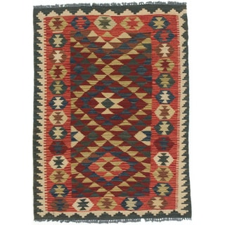 eCarpetGallery Kashkoli Red/Ivory Wool Handwoven Kilim (3' x 4'1)