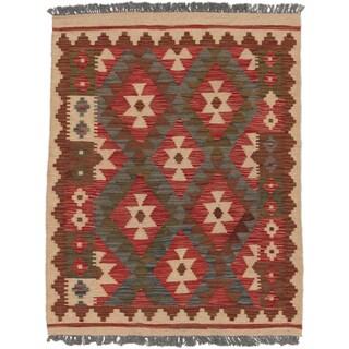 eCarpetGallery Hand-woven Anatolian Kilim Ivory/Red Wool Kilim (3' x 3'10)