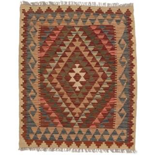 eCarpetGallery Orange/Red Wool Hand-woven Kashkoli Kilim (3' x 3'8)