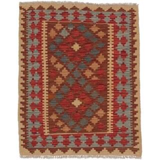 eCarpetGallery Hand-woven Kashkoli Red Wool Kilim Rug (2'10 x 3'7)