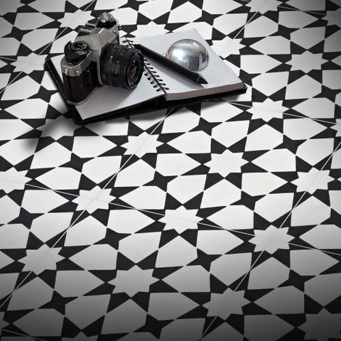Medina Black and White Handmade Moroccan 8 x 8 inch Cement and Granite Floor or Wall Tile (Case of 12)