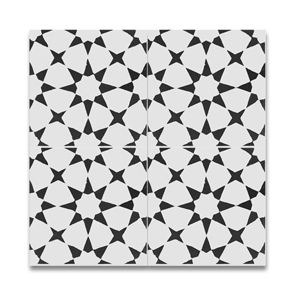 Medina Black and White Handmade Cement Moroccan Tile, 8 Inch x 8 inch Floor/Wall Tile (pack of 12)