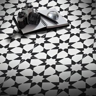 Medina Black and White Handmade Moroccan 8 x 8 inch Cement and Granite Floor or Wall Tile (Case of 12)|https://ak1.ostkcdn.com/images/products/13097385/P19830412.jpg?impolicy=medium