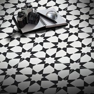 Medina in White and Black Handmade 8x8-in Moroccan Tile (Pack of 12)