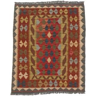 eCarpetGallery Kashkoli Red Wool Handwoven Kilim Rug (3' x 3'8)