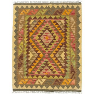 eCarpetGallery Kashkoli Kilim Brown, Orange Wool Hand-woven Kilim Rug (2'11 x 3'9)