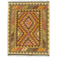 eCarpetGallery Kashkoli Kilim Brown, Orange Wool Hand-woven Kilim Rug (2'11 x 3'9)