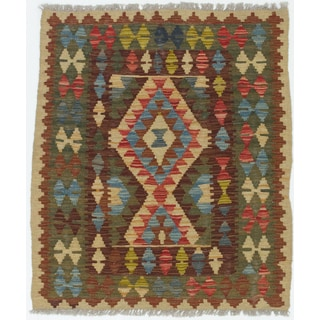 eCarpetGallery Kashkoli Green/Red Wool Hand-woven Kilim (2'11 x 3'6)