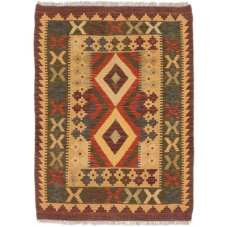eCarpetGallery Anatolian Brown Wool Hand-knotted Kilim Rug (2'11 x 3'11)