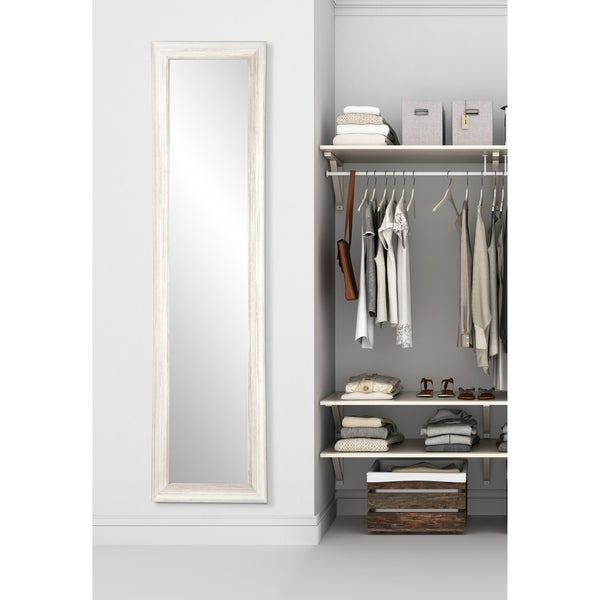 Multi Size BrandtWorks White Coastal Whitewood Slim Floor Mirror - White/Grey