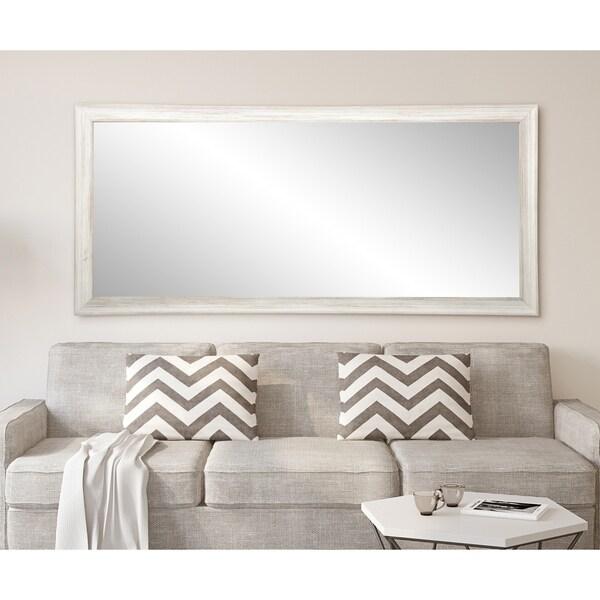 Multi Size Brandtworks Distressed Coastal White Wood Floor Mirror Grey