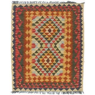 eCarpetGallery Hand-woven Kashkoli Orange Wool Kilim Rug (3 x 3'7)