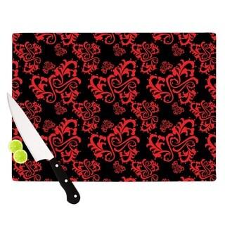 "Kess InHouse Mydeas ""Sweetheart Damask Black & Red"" Pattern Cutting Board"