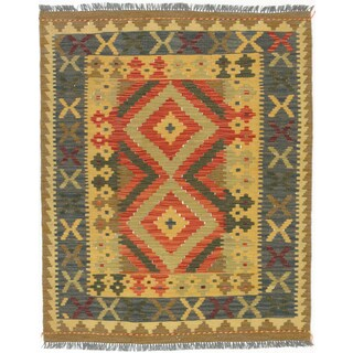 eCarpetGallery Anatolian Red/Yellow Wool Handwoven Kilim Rug (3' x 3'8)