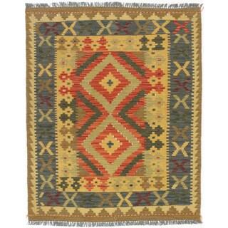 eCarpetGallery Anatolian Red/Yellow Wool Handwoven Kilim Rug (3' x 3'8) - 3' x 3'8