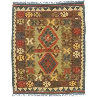 ecarpetgallery Hand-Woven  Hereke Kilim Ivory, Red  Wool Kilim (2'11 x 3'5)