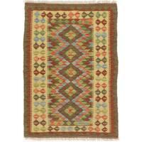 eCarpetGallery Kashkoli Red/Yellow Wool Handwoven Kilim Rug (2'10 x 4'1)
