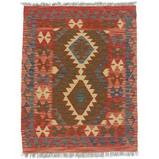 eCarpetGallery Kashkoli Blue/Red Wool Handwoven Kilim Rug (3' x 3'10)