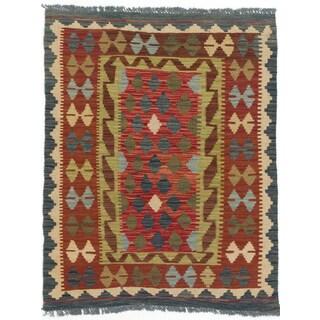 eCarpetGallery Green/Red Wool Handwoven Kashkoli Kilim Rug (3' x 3'8)