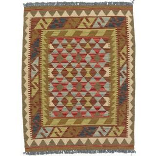eCarpetGallery Kashkoli Kilim Green/Red Wool Handwoven Rug (2'10 x 3'8)