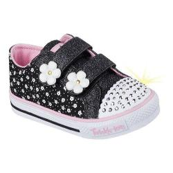 Girls' Skechers Twinkle Toes Shuffles Darling Daisy High Top Black/Pink