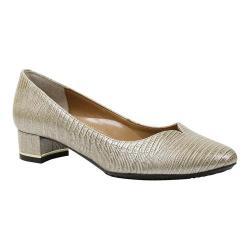 Women's J. Renee Bambalina Low Block Heel Pump Pearl Beige Lizard Print Patent Leather