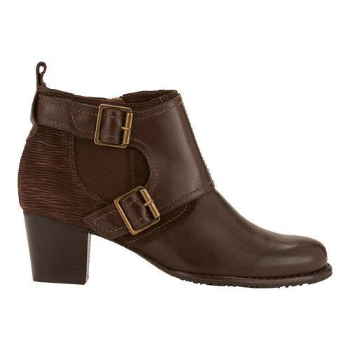 Women's Walking Cradles Leah Bootie Brown Leather/Max Suede/Ripple