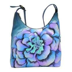 Women's ANNA by Anuschka Hand Painted Large Hobo 8079 Marigold Denim