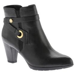 Women's Anne Klein Chelsey Ankle Bootie Black Leather