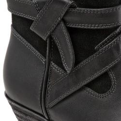 Women's SoftWalk Roper Bootie Black Smooth Leather/Cow Suede