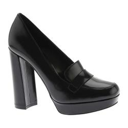 Women's Nine West Dakimo Platform Heeled Loafer Black Leather