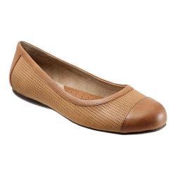 Women's SoftWalk Napa Flat Cognac Nubuck Embossed Leather/Veg Leather