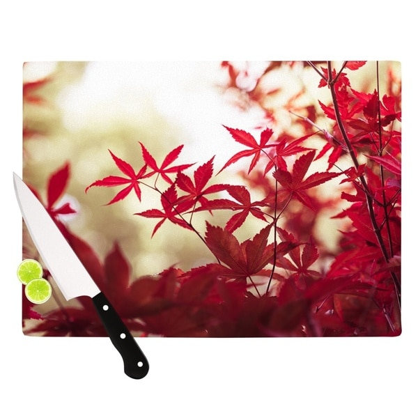 "Kess InHouse Ann Barnes ""September Afternoon"" Red Leaves Cutting Board"