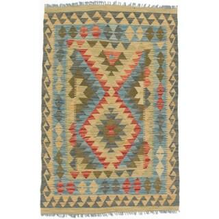 eCarpetGallery Kashkoli Blue/Yellow Wool Handwoven Kilim Rug (2'10 x 4'6)