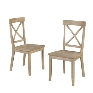 Classic Dining Set of X Back Design Chairs in White Wash Finish by Home Styles