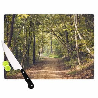 Kess InHouse Ann Barnes Forest Light Multicolor Glass Nature Photography Cutting Board